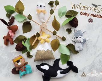 Wilderness Baby Mobile - Forest Mobile - Woodland Mobile - Cot/ Crib Mobile - Felt Mobile - Whale Mobile - Tribal Mobile