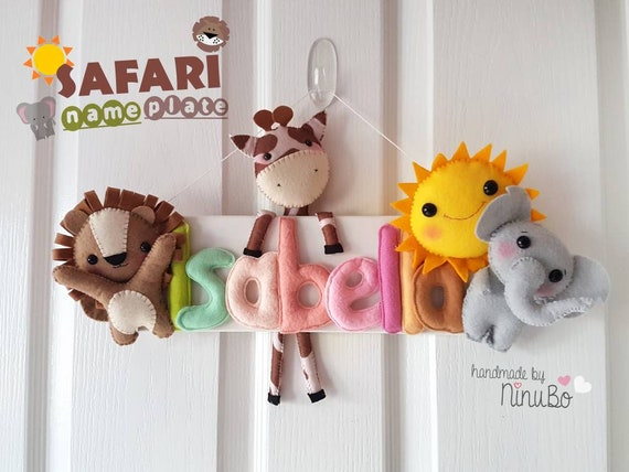 Safari namensschild name platte kind t r zeichen filz etsy - Namensschild tur kinderzimmer ...