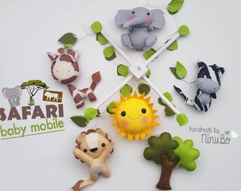 Safari Baby Mobile - Jungle Mobile - Crib Cot Mobile - Nursery Decor - Elephant - Sun - Lion - Zebra - Giraffe & Umbrella Thorn