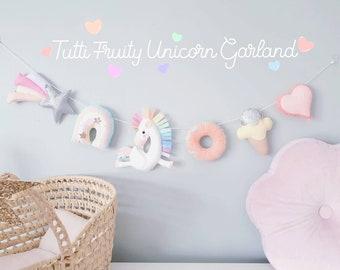 READY TO SHIP Unicorn Garland - Unicorn Nursery- Felt Garland- Nursery Garland- Nursery Decor- Kids Room Decor