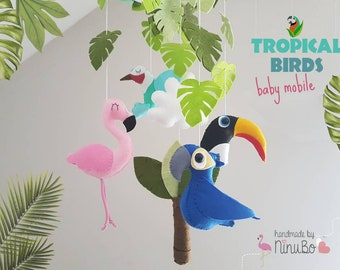 Tropical Birds Baby Mobile - Jungle Mobile - Crib / Cot Mobile - Blue Macaw - Flamingo - Humming Bird - Toucan - hanging mobile
