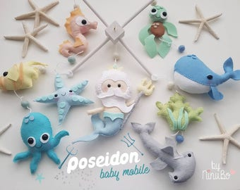 Poseidon Baby Mobile - Merman Mobile - Sea Creatures Mobile- Ocean Mobile - Whale Mobile - Cot Crib Mobile - Nautical Mobile