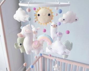 Llama Baby Mobile - Cactus Mobile - Cot Mobile - Crib Mobile - Llama Nursery - Llama Nursery Decor