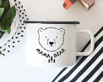 Mothers Day Gift Mama Bear Mug Enamel Mug  Coffee Mug Gift For Mom Camping Mug Travel Mug Gift For Her Gift For Mother  Camp Mug