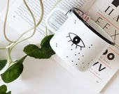 Enamel Mug Camping Mug Handpainted Mug Unique Coffee Cup Adventure Mug Enamelware Minimalist Mug Eye Mug Eye Illustration Unique Gift