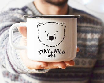 Enamel Mug Cute Mug Inspirational Quote Camp Mug Cute Bear Unique Mug Coffee Mug Gift For Him Gift For Man Camping Mug Travel Mug Steel Mug