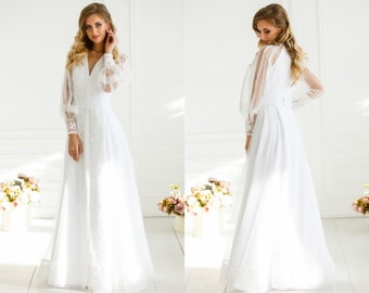 89a1b4fefa4 Unique modern Ukrainian embroidered white on white wedding dress - Maxi  long sleeve wedding gown - Transparent lace bridal dress