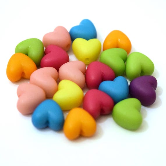 50 x Pastel Candy Colour Heart Shaped Acrylic Beads 11x10x5mm.