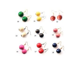 Wood Bead Earrings for Women beaded boho earrings wooden jewelry festival Wooden Ball earrings Natural Handmade Earrings rustic earrings