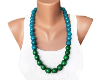 Wooden Bead Necklace Casual Jewelry Statement Bib Bead Jewelry large long necklace chunky boho necklace oversize green blue necklace