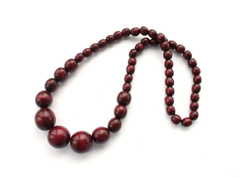 wood statement necklace natural wooden bead necklace Burgundy bead necklace for women long beaded necklace dark red handmade jewelry