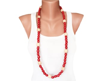Red Wooden Necklace Chunky  Boho Necklace Beaded handmade jewelry Chunky Red Necklace bold red necklace bright statement necklace gift