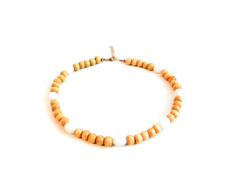 bohemian Beaded necklace Wood choker necklace Short bead necklace natural handmade eco friendly necklace for women