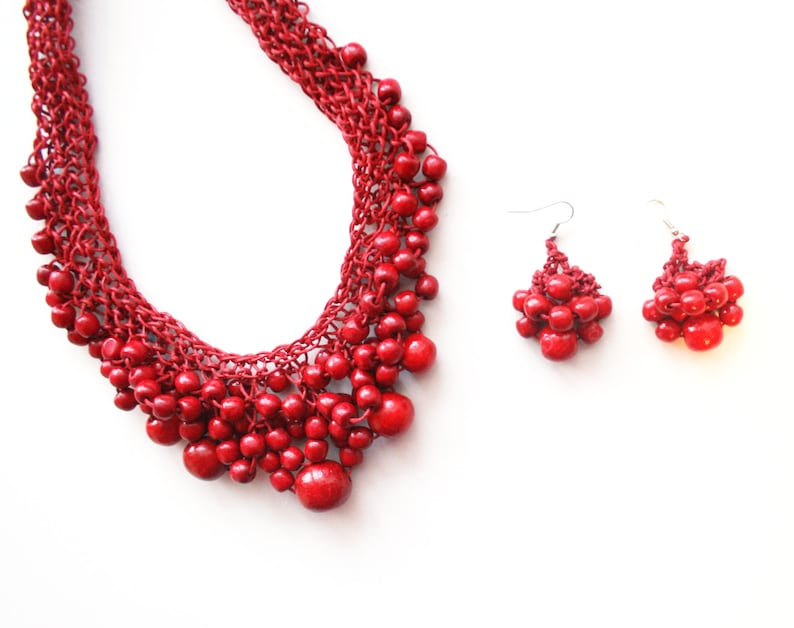 chunky statement necklace Wooden jewelry set red ecklace