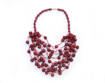Fall chunky necklace knitted necklace multistrand wooden bead necklace Cranberry Maroon dark red big beaded necklace boho ethnic necklace
