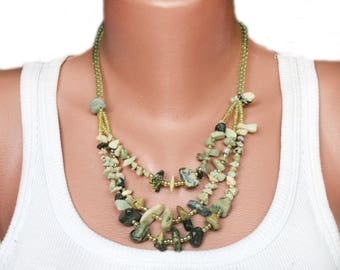 Green gemstone necklace green boho statement necklace beaded layering necklace handmade mineral jewelry eco-style multistrand necklace