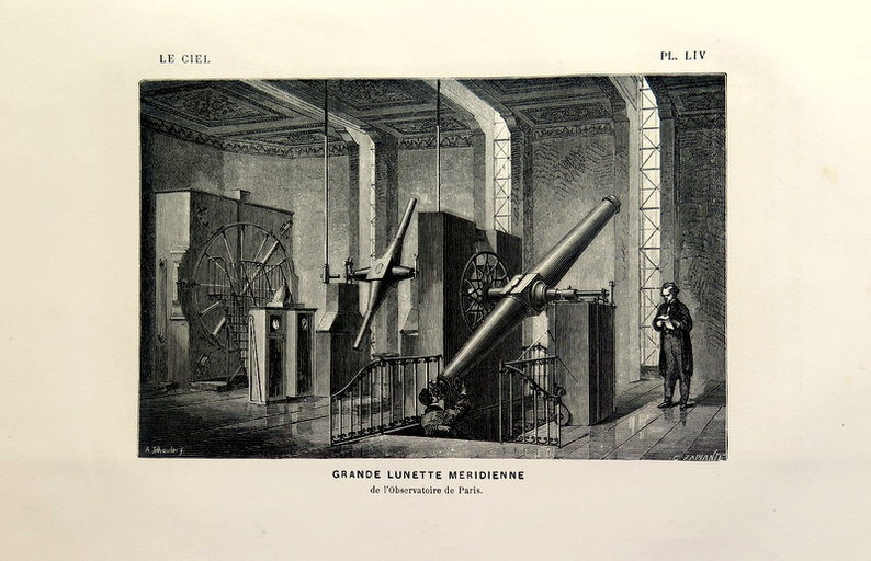 1877 antike teleskop gravur vintage print astronomie etsy