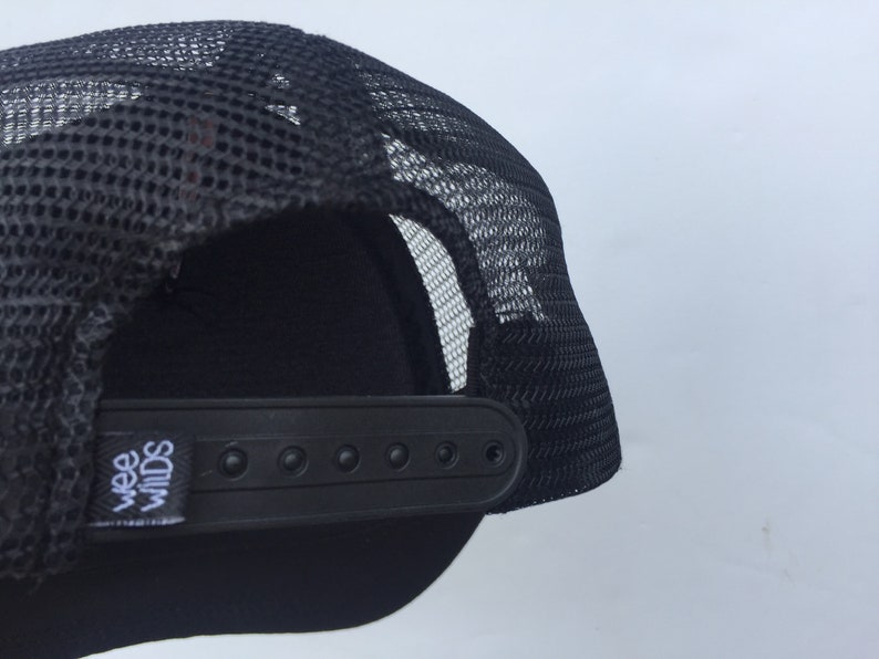 Size 2-7 BlackWhite Mesh Back Recycled PolyesterOrganic Cotton Happy Place graphic Adjustable Kids Trucker Hat