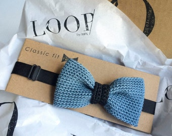 Blue-gray and black middle classic fit pre-tied bow tie, Bow tie, Pre-tied bow tie, Adult bow tie, Handmade bow tie, Classic bow tie