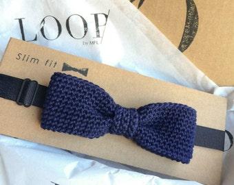 Navy blue slim fit pre-tied bow tie, Bow tie, Pre-tied bow tie, Adult bow tie, Handmade bow tie, Slim bow tie