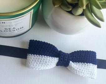 Navy blue and white slim fit pre-tied bow tie, Bow tie, Pre-tied bow tie, Adult bow tie, Handmade bow tie, Slim bow tie