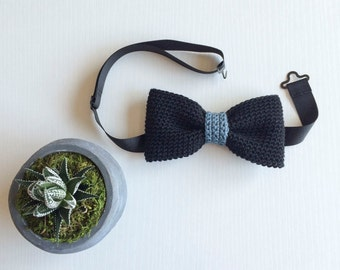 Black and blue-gray middle classic fit pre-tied bow tie, Bow tie, Pre-tied bow tie, Adult bow tie, Handmade bow tie, Classic bow tie