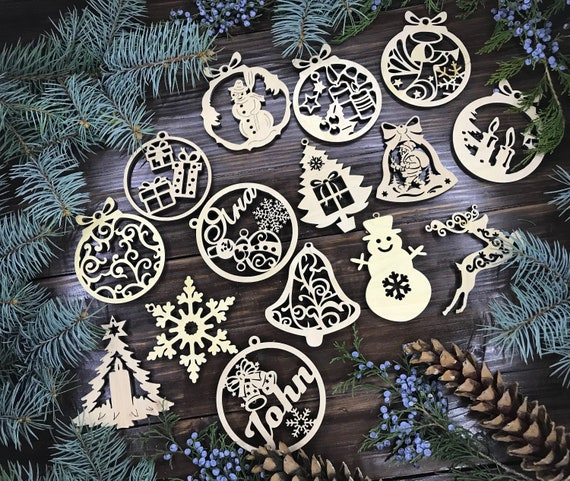 Beautiful Wooden Natural Christmas Trees for cards and crafts