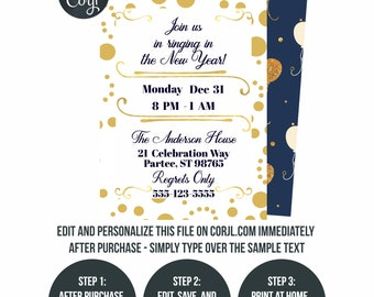 new years eve invite etsy
