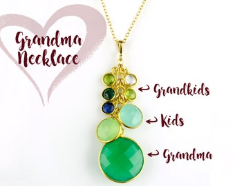 Custom Birthstone Necklace for Grandma, Mothers day gift for grandmother with grandkids birthstones, Personalized Grandma Necklace, Gifts