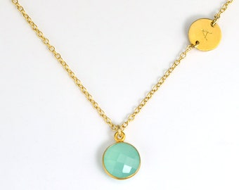 Initial Birthstone Necklace, Personalized Bridesmaid necklace, gift ideas, Birthstone Initial Necklace, best friend necklace sister necklace