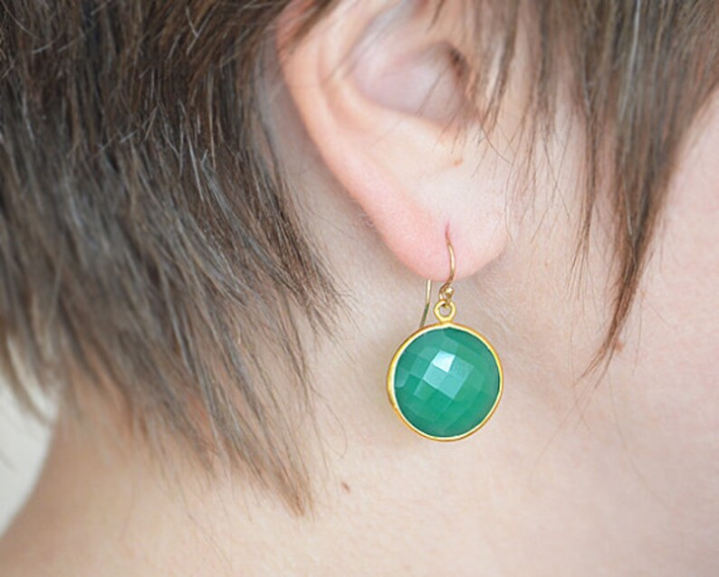 Bridesmaid earrings Green Onyx earrings Gold Framed Stone Gift For Her Round Stone earrings May birthstone earrings Mothers Gold earrings