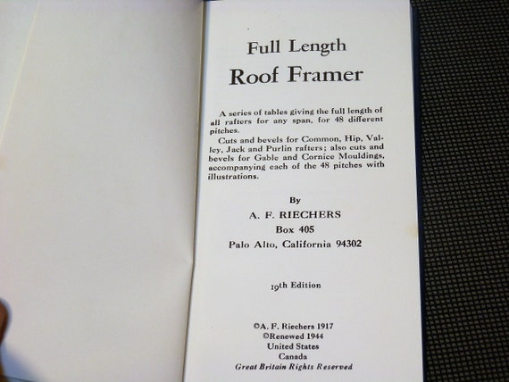 Full Length Roof Framer Afj Riechers 1944 19th Edition Etsy