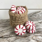 Peppermint Loose Felt Shapes | Red | Christmas Candy | Red White |  Free Shipping USA over 16 US Dollars | Pom Pom | Garland