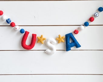 USA Felt Ball Garland - 4th of July - Independence Day - Labor Day - Pom Pom - Free Shipping USA   Bunting   Patriotic   Memorial Day