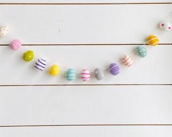 Egg-citement Easter Garland | Felt Eggs | Felt Ball Garland - Pom Pom - FREE SHIPPING USA | Bunting | Felt Easter Eggs | Farm Fresh Eggs