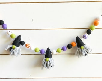 Gnome Witch Feltball Halloween Garland | Felted Witch | Felt Ball Pom Pom  FREE SHIPPING USA | Fall | Halloween Decor | Halloween Gnome
