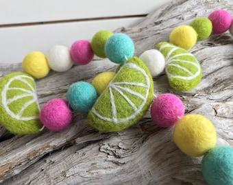 Lime-ade Felt lime | Felt Ball Garland - Pom Pom - FREE SHIPPING USA | Bunting | lemonade Stand | Summer Party | Citrus Bunting