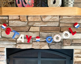 STAY COOL Felt Ball Garland - 4th of July - Independence Day - Labor Day - Pom Pom - Free Shipping USA   Bunting   Summer   Memorial Day