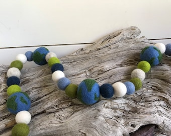 Mother Nature  Earth Garland | Felt Ball Garland - Pom Pom - FREE SHIPPING USA | Bunting | Grey| Solar System| Earth Day | Science