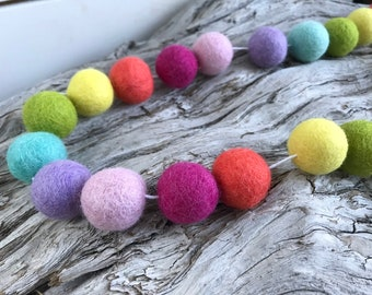 Citrus Rainbow St. Patty's Day  Easter Spring - 2cm Felt Ball Garland or Loose Pack - Pom Pom - FREE SHIPPING on 16 USA | Shamrock|  Garland
