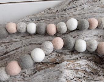 Blushing Felt Ball Garland | 2cm Felt Ball 25 or 50 count Garland or Loose Pack - Pom Pom - FREE SHIPPING over 16 USA | Bunting | Nursery