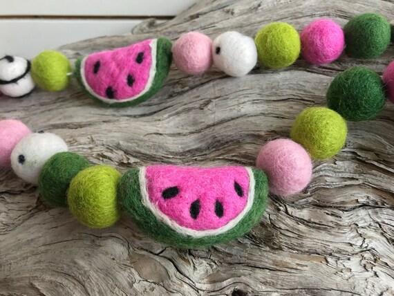 Felt Wool Balls Felt Watermelon Decor Summer Decoration Watermelon Garland