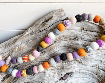 Spooky N Sweet - Halloween, 2cm 40ct Felt Ball Garland or Loose Pack - Pom Pom - FREE SHIPPING USA   Bunting   Fall   Autumn   Boo