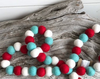 Fireworks & Cotton Candy - 2cm Felt Ball Garland or Loose Pack - Pom Pom - FREE SHIPPING USA | Bunting | Patriotic | Independence Day