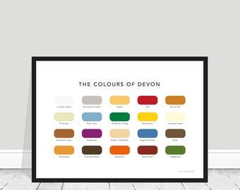 The Colours of Devon Print / Devon Colour Chart / Devon Paint Chart / Devon Home Gift / Visit Devon / Jurassic Coast Print / Dartmoor Poster
