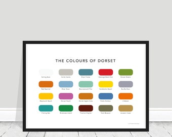 The Colours of Dorset Print / Dorset Paint Chart / Dorset Home Gift / Dorset Poster / Swanage / Durdle Door / Bournemouth / Poole / Weymouth