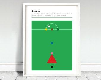 Snooker Poster / Snooker Print / Snooker Definition / Snooker Fan / Snooker Player / Games Room Poster / Snooker Gift / Home Decor
