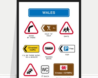 Funny Wales Poster / Wales Print / Welsh Signs / Welsh Sayings / Welsh Phrases / Wales Poster / Wales Home Gift / Wales Holiday Poster
