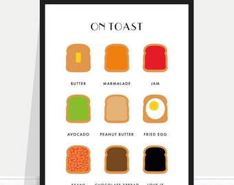 On toast print / on toast poster / Beans on toast / Avocado on toast / Kitchen poster / Kitchen print / Kitchen art / Chef Gift / Cook gift