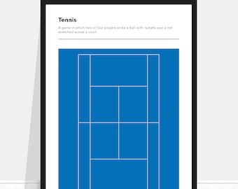 Tennis Definition Poster / Tennis Print / Australian Open / Blue Court / Tennis Poster / Tennis Home Gift / Tennis Gift / Tennis Bedroom